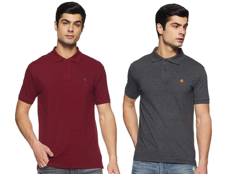 ONN Men's Cotton Polo T-Shirt (Pack of 2) in Solid Black Melange-Maroon colours