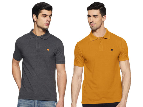 ONN Men's Cotton Polo T-Shirt (Pack of 2) in Solid Black Melange-Mustard colours - GottaGo.in
