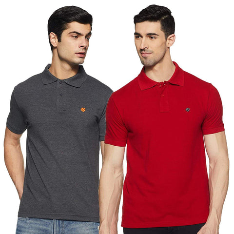 ONN Men's Cotton Polo T-Shirt (Pack of 2) in Solid Black Melange-Red colours - GottaGo.in