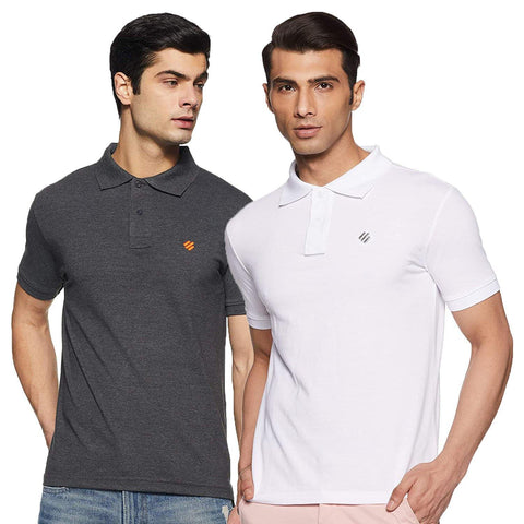 ONN Men's Cotton Polo T-Shirt (Pack of 2) in Solid Black Melange-White colours - GottaGo.in