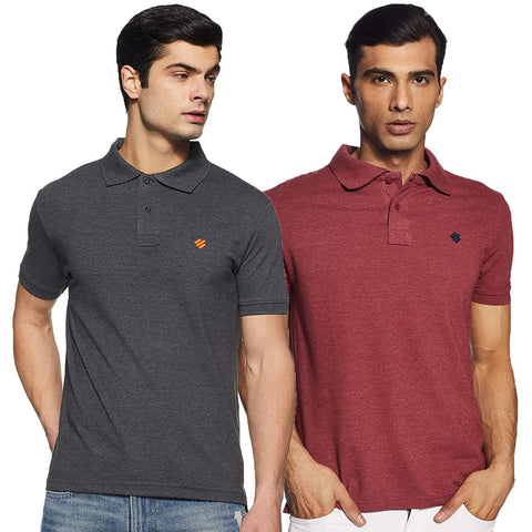 ONN Men's Cotton Polo T-Shirt (Pack of 2) in Solid Black Melange-Wine colours - GottaGo.in