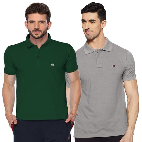 ONN Men's Cotton Polo T-Shirt (Pack of 2) in Solid Bottle Green-Grey Melange colours