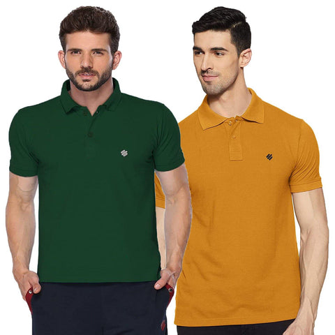 ONN Men's Cotton Polo T-Shirt (Pack of 2) in Solid Bottle Green-Mustard colours