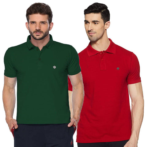 ONN Men's Cotton Polo T-Shirt (Pack of 2) in Solid Bottle Green-Red colours