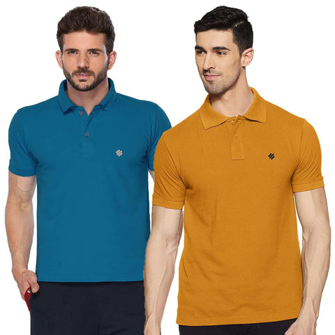 ONN Men's Cotton Polo T-Shirt (Pack of 2) in Solid Bright Blue-Mustard colours - GottaGo.in