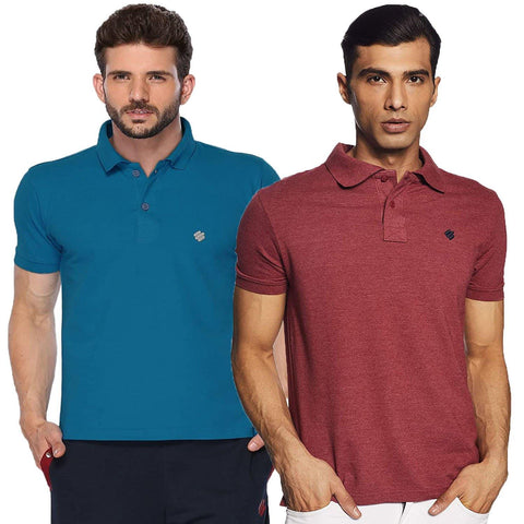 ONN Men's Cotton Polo T-Shirt (Pack of 2) in Solid Bright Blue-Wine colours