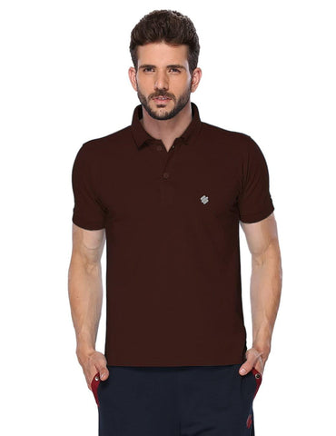 ONN Men's Cotton Polo T-Shirt in Solid Coffee colour - GottaGo.in