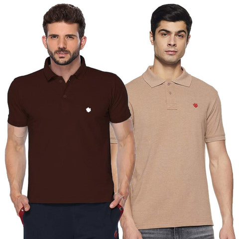 ONN Men's Cotton Polo T-Shirt (Pack of 2) in Solid Camel-Coffee colours - GottaGo.in