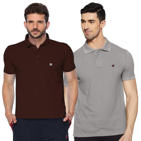 ONN Men's Cotton Polo T-Shirt (Pack of 2) in Solid Coffee-Grey Melange colours - GottaGo.in