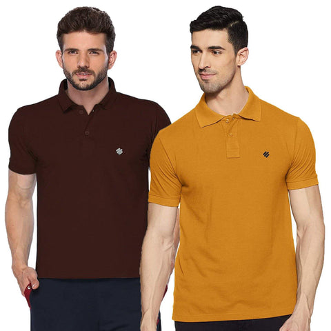 ONN Men's Cotton Polo T-Shirt (Pack of 2) in Solid Coffee-Mustard colours