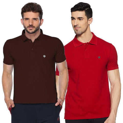 ONN Men's Cotton Polo T-Shirt (Pack of 2) in Solid Coffee-Red colours
