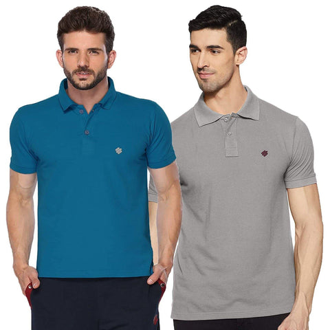 ONN Men's Cotton Polo T-Shirt (Pack of 2) in Solid Bright Blue-Grey Mellange colours