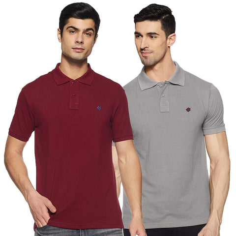 ONN Men's Cotton Polo T-Shirt (Pack of 2) in Solid Grey Melange-Maroon colours - GottaGo.in
