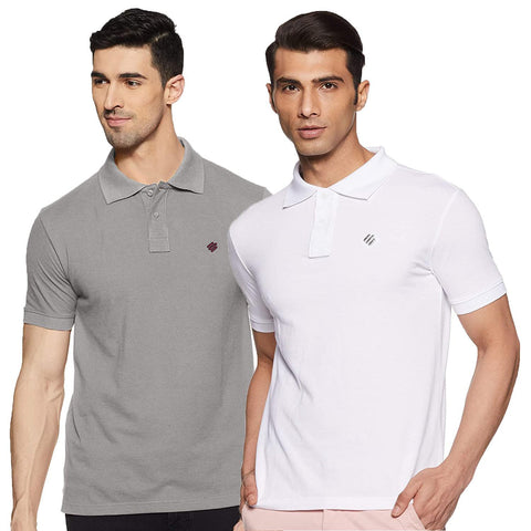 ONN Men's Cotton Polo T-Shirt (Pack of 2) in Solid Grey Melange-White colours - GottaGo.in
