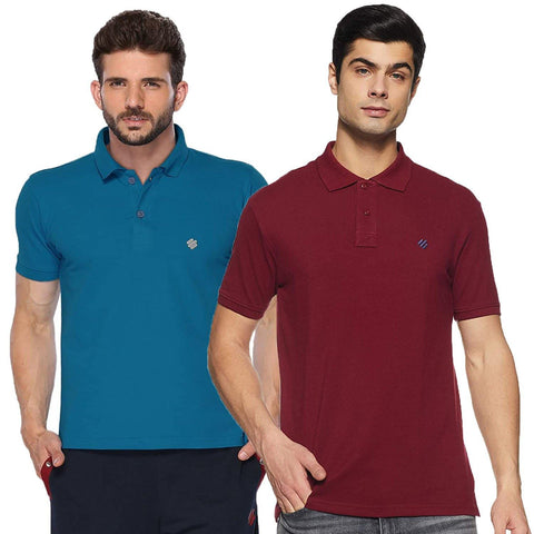 ONN Men's Cotton Polo T-Shirt (Pack of 2) in Solid Bright Blue-Maroon colours