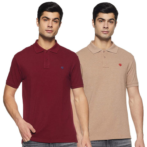 ONN Men's Cotton Polo T-Shirt (Pack of 2) in Solid Camel-Maroon colours