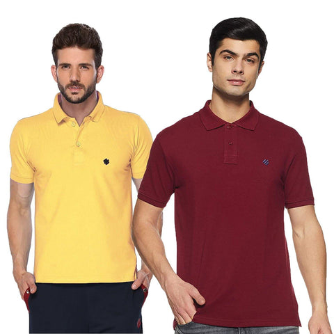 ONN Men's Cotton Polo T-Shirt (Pack of 2) in Solid Lemon-Maroon colours - GottaGo.in