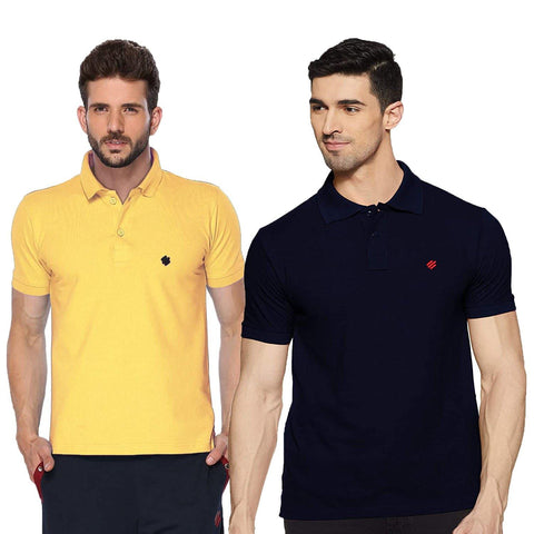 ONN Men's Cotton Polo T-Shirt (Pack of 2) in Solid Lemon-Navy Blue colours - GottaGo.in