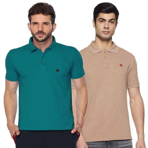 ONN Men's Cotton Polo T-Shirt (Pack of 2) in Solid Camel-Peacock Blue colours - GottaGo.in