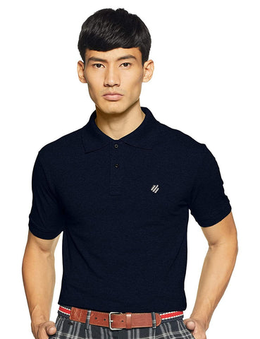 ONN Men's Cotton Polo T-Shirt in Solid Navy Melange colour - GottaGo.in