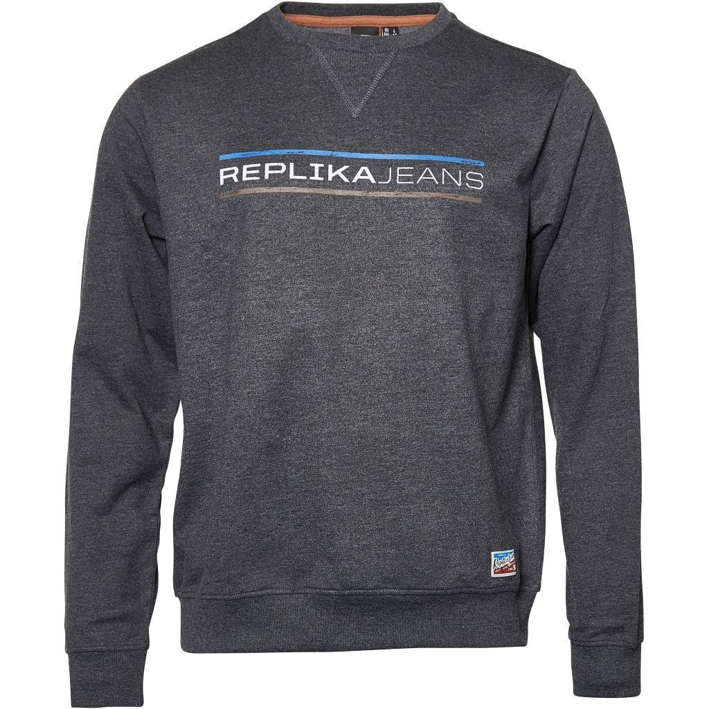 North 56°4 / Replika Jeans (Big & Tall) REPLIKA JEANS Crew-neck Sweat Sweatshirt 0090 Dark Grey Melange