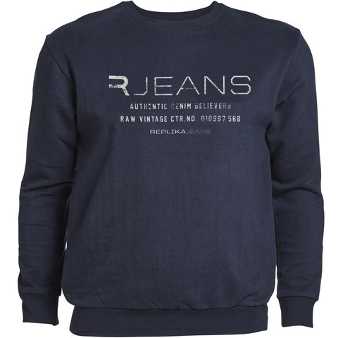 North 56°4 / Replika Jeans (Big & Tall) REPLIKA JEANS Crew neck sweat Sweatshirt 0580 Navy Blue
