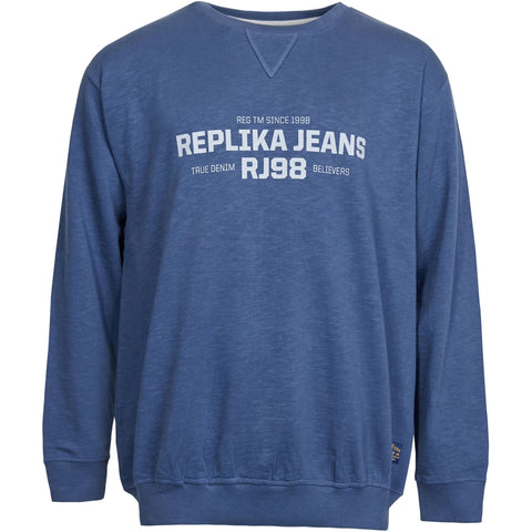 North 56°4 / Replika Jeans (Big & Tall) REPLIKA JEANS Logo slup yarn sweat Sweatshirt 0580 Navy Blue
