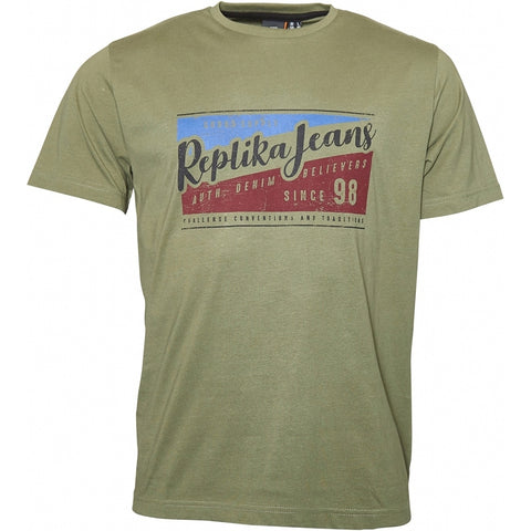 North 56°4 / Replika Jeans (Big & Tall) REPLIKA JEANS Printed tee T-shirt 0661 Winter Olive