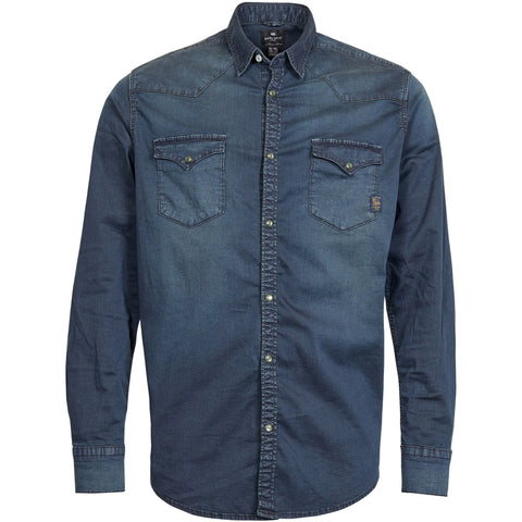 North 56°4 / Replika Jeans (Big & Tall) REPLIKA JEANS Denim shirt w/stretch Shirt LS 0597 Blue Used Wash