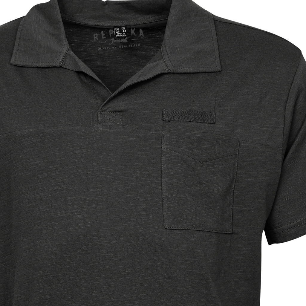 North 56°4 / Replika Jeans (Big & Tall) REPLIKA JEANS Polo w/v-neck T-shirt 0099 Black