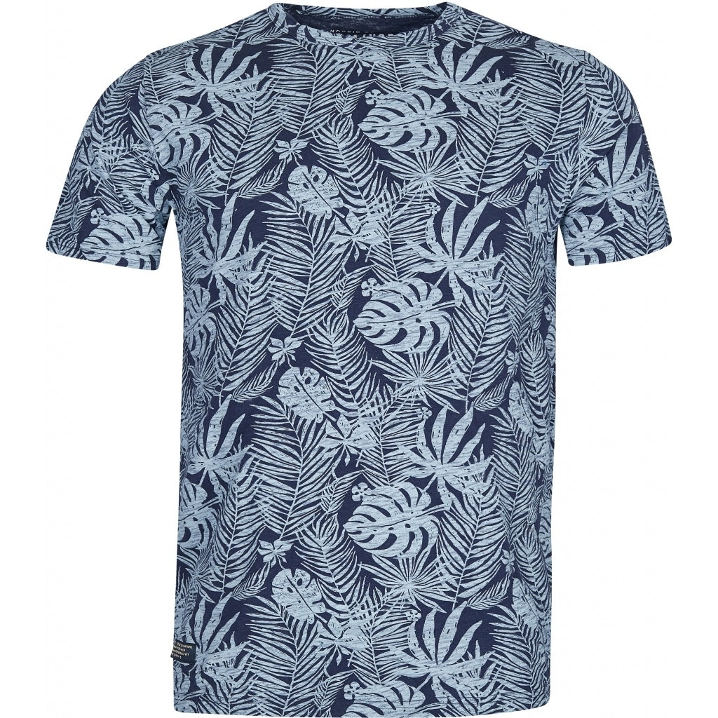 North 56°4 / Replika Jeans (Big & Tall) North 56°4 Allover flower printed tee T-shirt 0580 Navy Blue