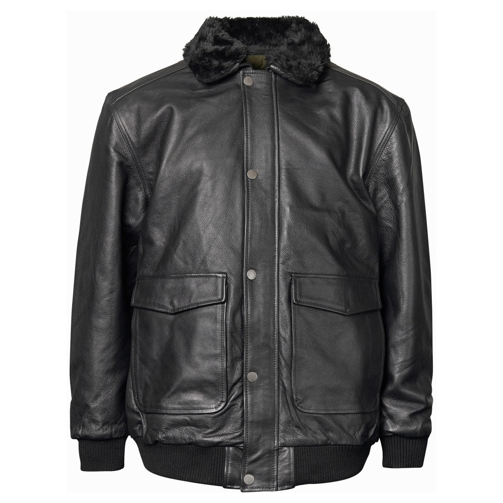North 56°4 / Replika Jeans (Big & Tall) North 56°4 Bomber leather jacket Jacket 0099 Black