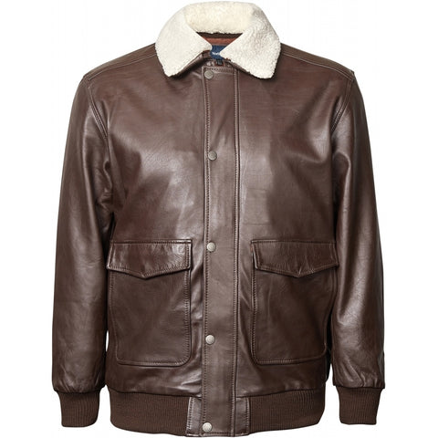 North 56°4 / Replika Jeans (Big & Tall) North 56°4 Bomber leather jacket Jacket 0780 Dark Brown