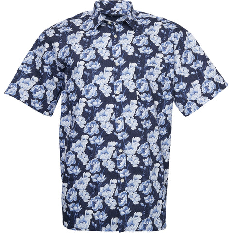 North 56°4 / Replika Jeans (Big & Tall) North 56°4 Flower printed shirt Shirt SS 0580 Navy Blue