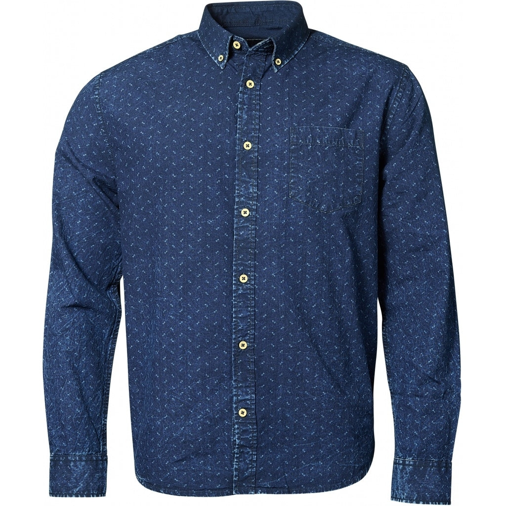 North 56°4 / Replika Jeans (Regular) North 56°4 Allover printed shirt L/S Shirt LS 0585 Indigo Blue