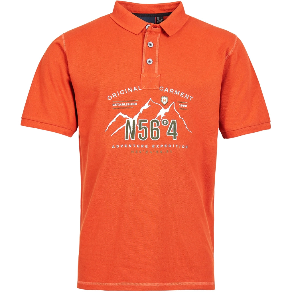 North 56°4 / Replika Jeans (Big & Tall) North 56°4 Polo w/embroidery T-shirt 0201 Terracotta/burned orange