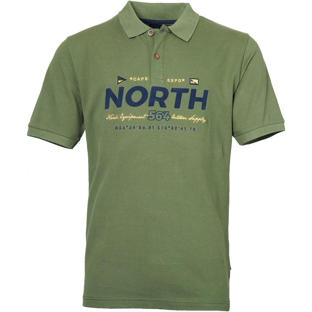 North 56°4 / Replika Jeans (Big & Tall) North 56°4  Polo w/print and embroidery T-shirt 0660 Olive Green