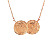 The ICOINIC Two Coin Necklace - Rose Gold