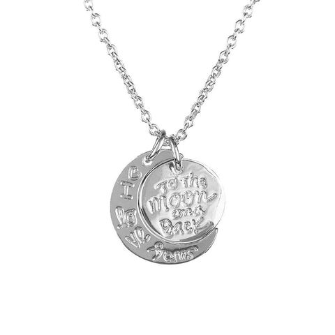 I Love You To The Moon And Back Necklace -  Silver