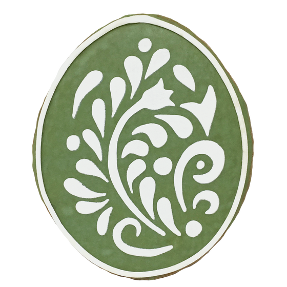 Easter Egg Cookie - Green Filigree Design