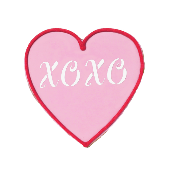 XOXO Heart Valentine's Day Cookie - Red Border