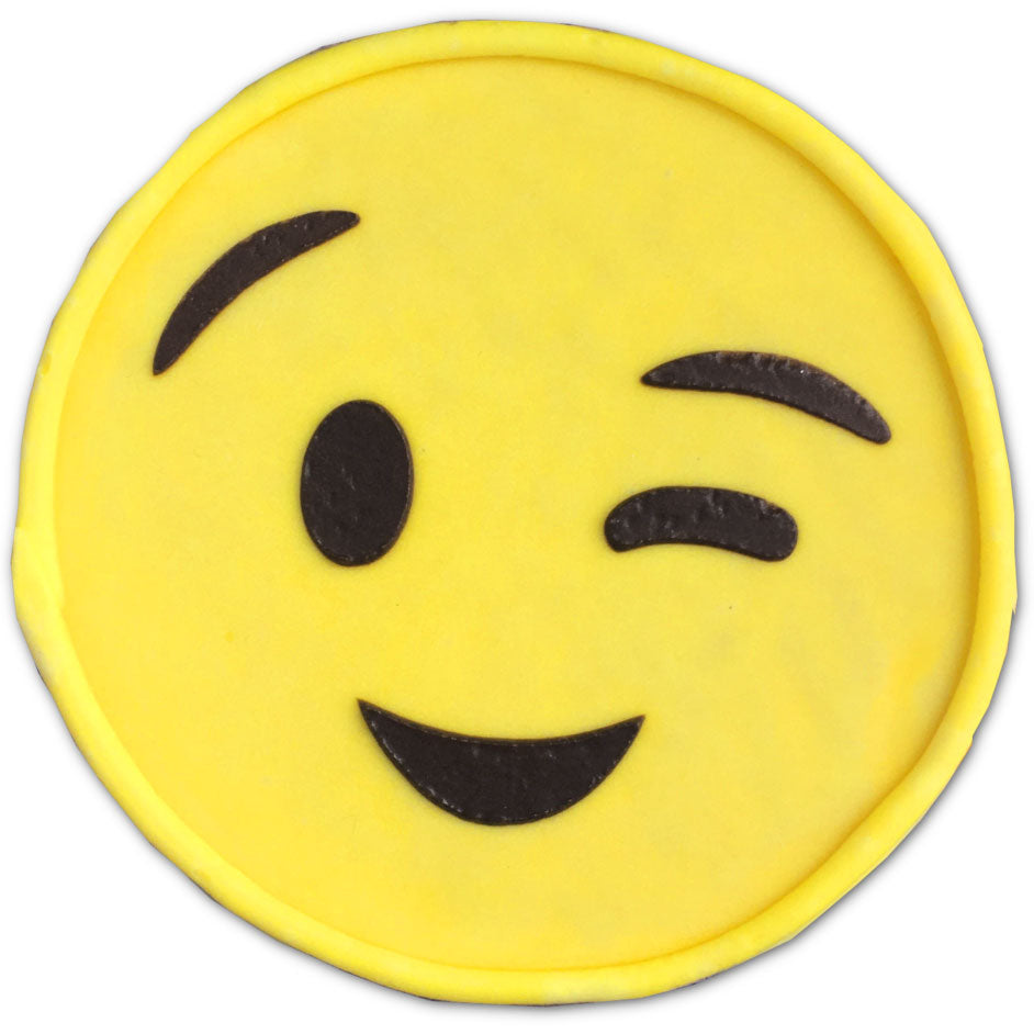 Wink Face Emoji Cookie
