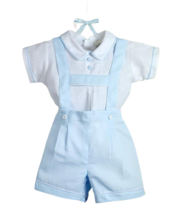 Pretty Originals Blue/White Dungaree 2 Piece Set
