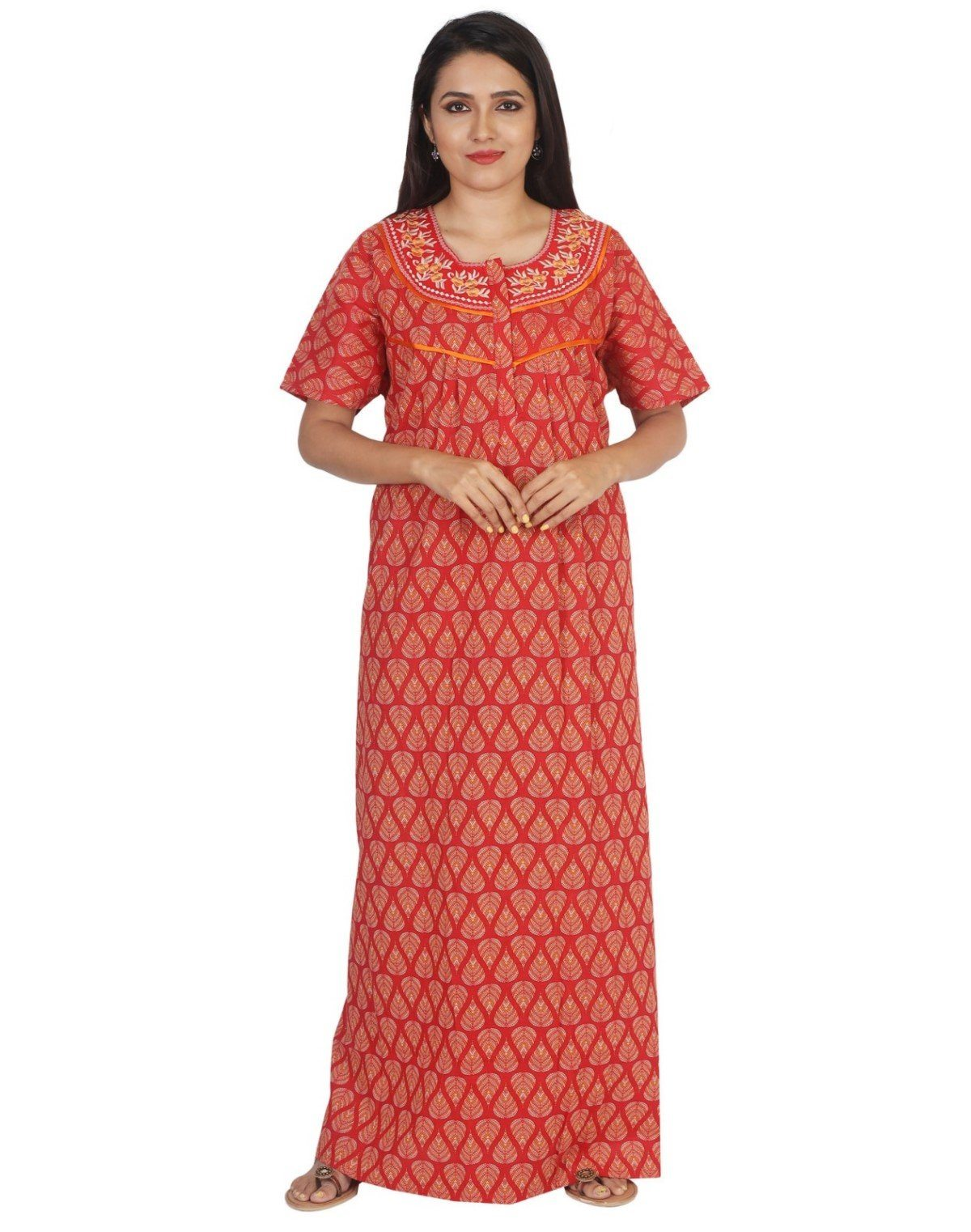 Womens Jaipuri Cotton Nightgown - Regular Fit Womens Nighty NK - Kiwi