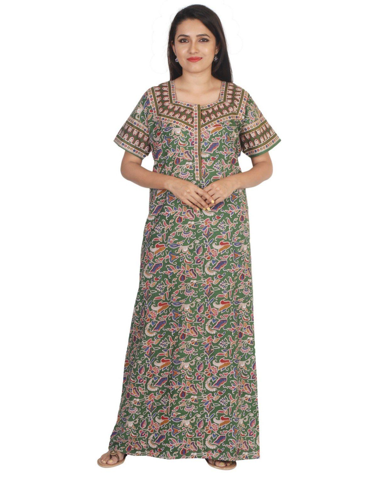 Womens Jaipuri Cotton Nightgown - Slim Fit Womens Nighty NK - Kiwi