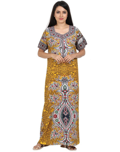 Womens Jaipuri Cotton Nightgown - Slim Fit - Nighty House