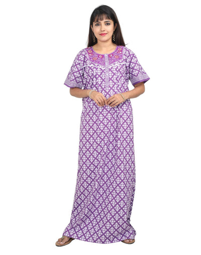 Womens Full Length Premium Cotton Nightwear - Front Button - Regular Fit - Nighty House
