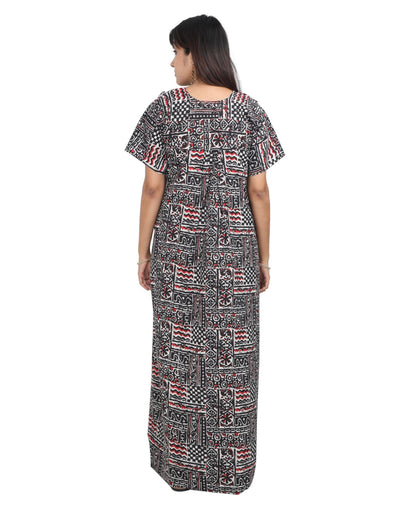 Womens 100% Cotton Feeding Nightgown - Horizontal Side Zips - Nighty House