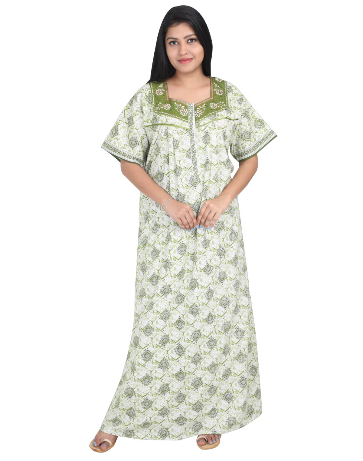 Womens Full Length Cotton Nightie - Front zip - Regular Fit Womens Nighty NK - Kiwi