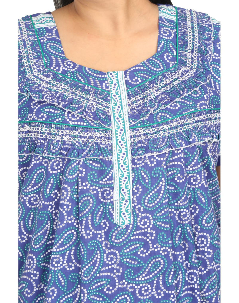 Womens Full Length Cotton Nightie - Front zip - Regular Fit Womens Nighty NH -Sale 1149